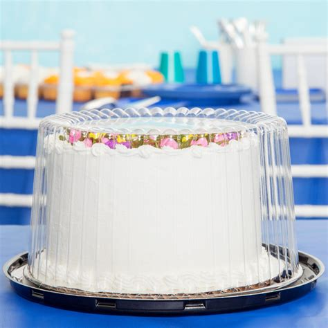 10 inch plastic cake container dome lid d w pack g21 1 7 quot 2 3 layer cake display container