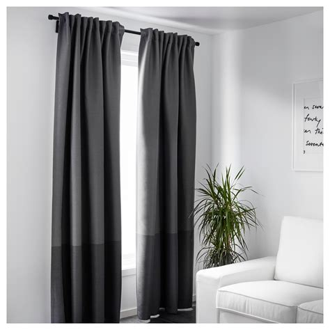 cortinas block out marjun block out curtains 1 pair grey 145x250 cm ikea
