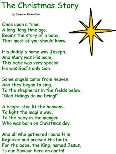 printable version of the nativity story short poems for kids in english for students in urdu about