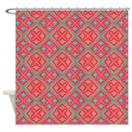 pink and teal curtains pink teal geometric pattern shower curtain by pinkinkart