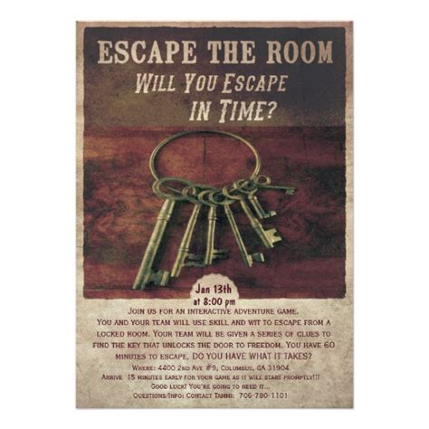 escape the room invitation zazzle