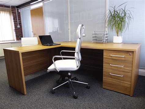 executive desk with brushed metal cable ports used