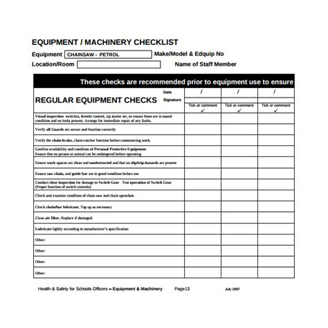 equipment maintenance schedule template sle maintenance checklist template 17 free documents