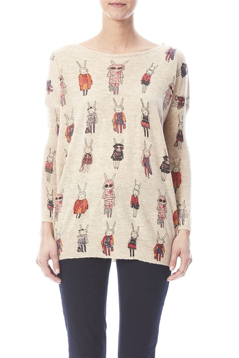 Outerwear Sweater Rabbit Sweater la s soul bunny print sweater from cambria by heir shoptiques