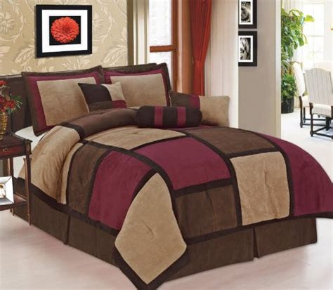 get cheap 7 piece burgundy beige micro suede patchwork