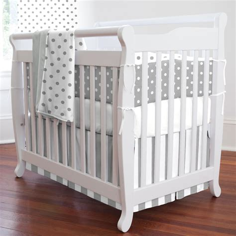 Gray Crib Set by Gray And White Dots And Stripes Portable Crib Bedding