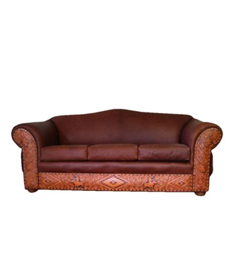 Western Leather Sofa Tucson Western Tooled Leather Sofa Rustic Artistry