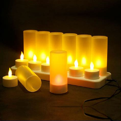 christmas led candles rechargeable tealight yellow light