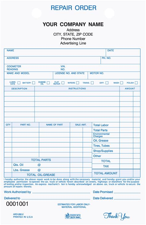 mechanic receipt template free printable automotive repair receipts infocap ltd