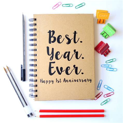 personalised first anniversary best year notebook by the