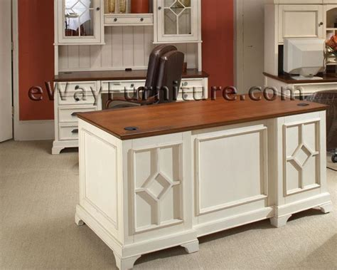 White Desk For Home Office Distressed White 66 Inch Executive Home Office Desk