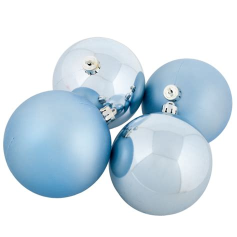 pale blue baubles shatterproof pack of 6 x 80mm