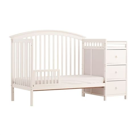 Convertible Crib With Changer 4 In 1 Fixed Side Convertible White Crib Changer 04586 351
