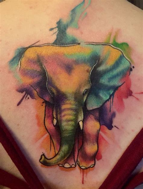 pigment tattoo water color elephant aj ways san antonio