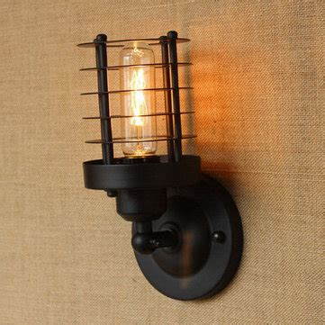 e27 vintage industrial iron black shell wall light stair