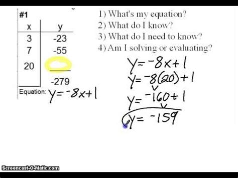 how to find the table how to find missing x and y in a linear table