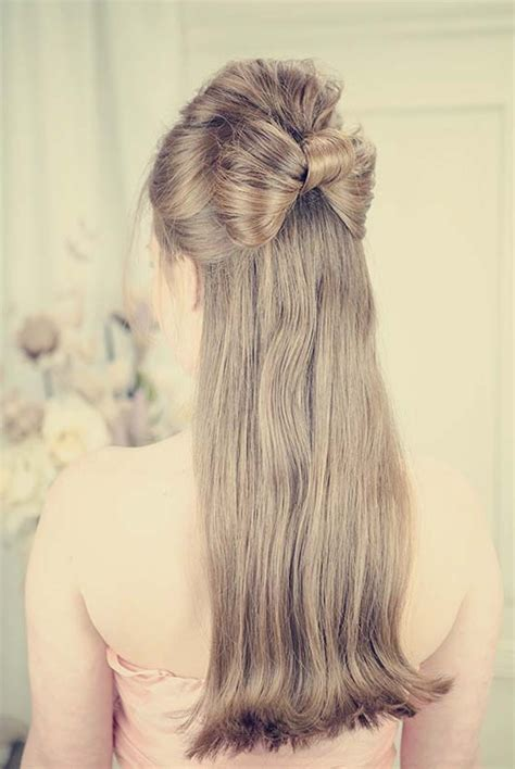 down hairstyles with bows half up half down hair bow prom hairstyle pin up sailor