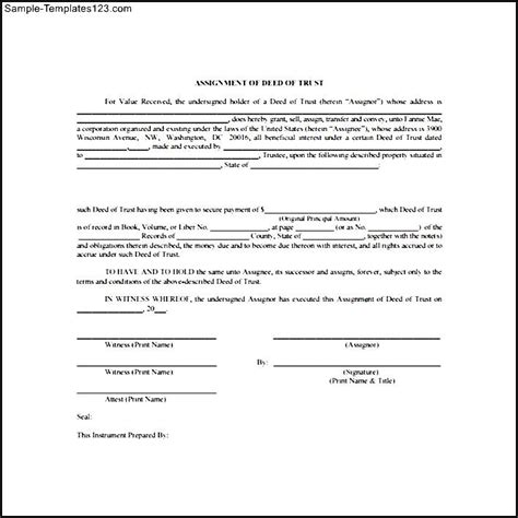 printable deed of trust form sle templates