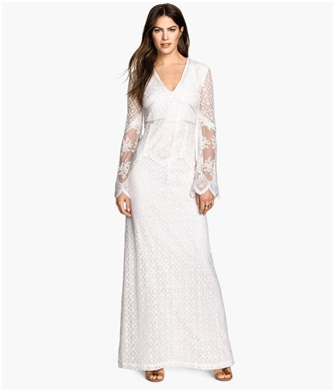 Dress H Lace White h m lace maxi dress in white lyst