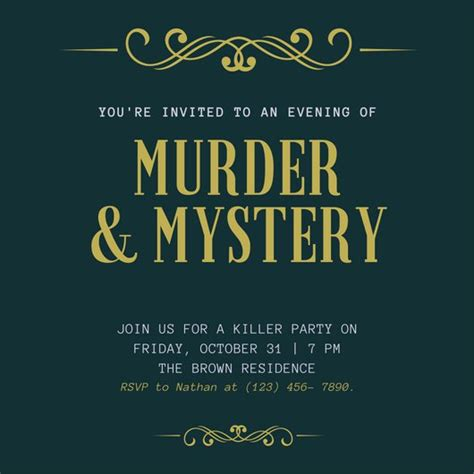 template murder mystery card green and gold flourish murder mystery invitation