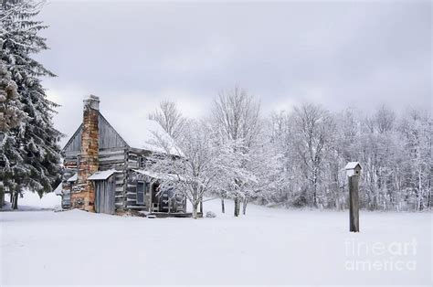 Snowy Cabins by Snowy Cabin Photograph By Benanne Stiens