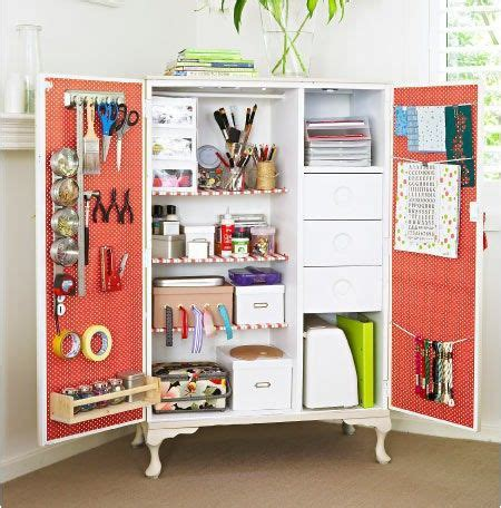 armoire craft storage armoire turned craft organizer for the home pinterest