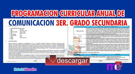 programacin curricular anual de sexto grado 2014 con rutas programacion curricular anual de comunicacion 3er grado
