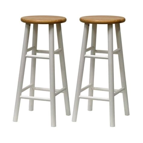 Lowes Outdoor Bar Stools by Shop Winsome Wood Set Of 2 White 30 In Bar Stools