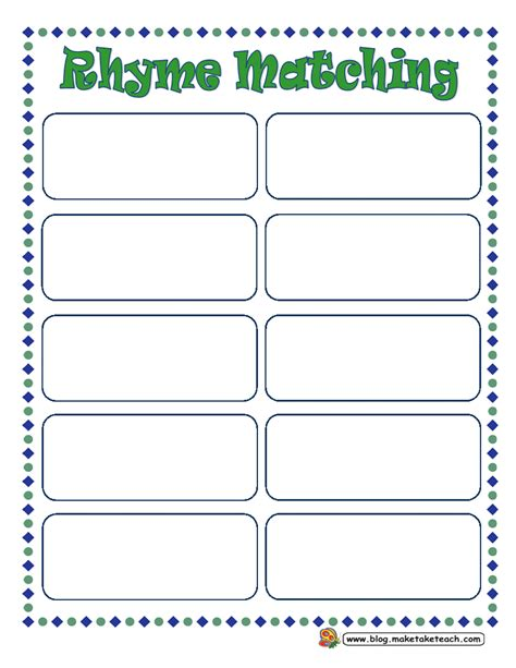 template matching diy rhyme magnets make take teach