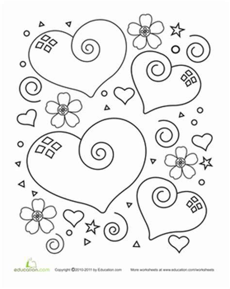heart coloring pages for kindergarten heart worksheet education com
