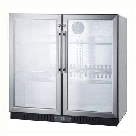 swinging glass doors summit scr7012dcss 36 quot 2 section bar refrigerator