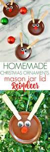 homeade ornaments ornaments jar lid reindeer the