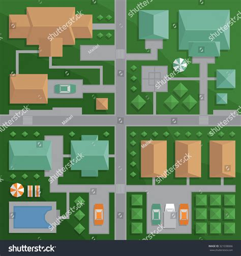 best view maps top view map city streets houses stock vector 321038066