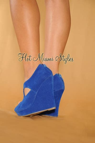 Wedges V Layla royal blue traps faux suede lace up peep toe wedge bootie