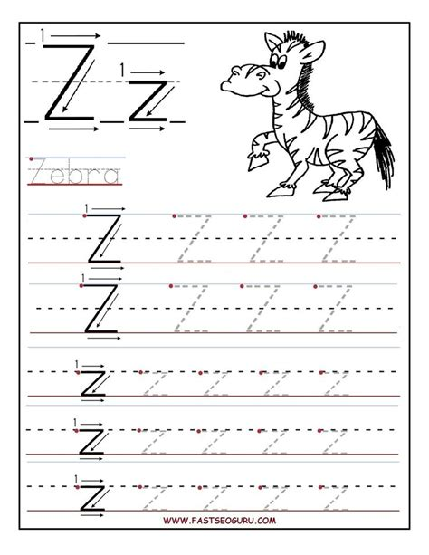 worksheets for preschoolers tracing letters printable letter z tracing worksheets for preschool kids