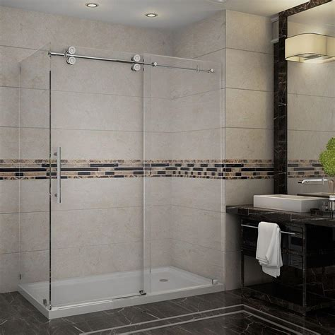 Glass Shower Enclosures With Base Cerise 39 In X 78 In Frameless Shower Enclosure In