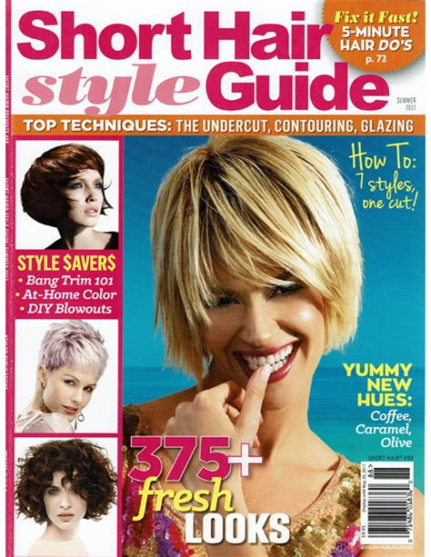 cover of short hair style guide magazine short hairstyle guide magazine hair