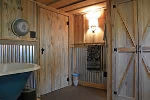 Rustic Wainscoting Ideas Use Corrugated Steel Roofing As Wainscoting In Rustic Bath