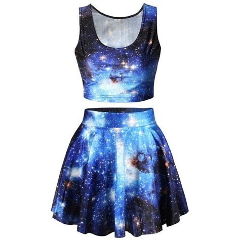 galaxy pattern clothes pink queen 2 piece crop tank top tees and flare skirt set