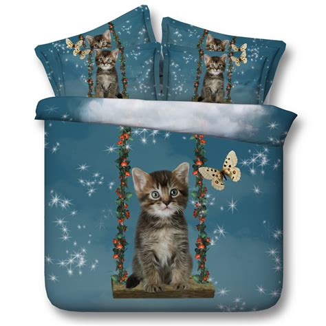 Blue Cat Pet Butterfly Comforter Bedding Sets Twin Full Cat Bedding For