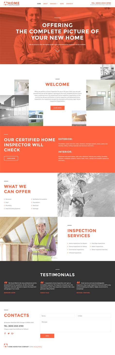 responsive website templates for quiz home inspector responsive website template 58002