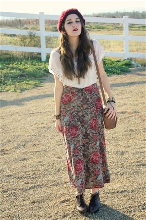 floral maxi skirts brown ankle boots maroon knit hats