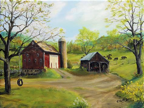 tire swing painting tire swing in barnyard painting by c keith jones