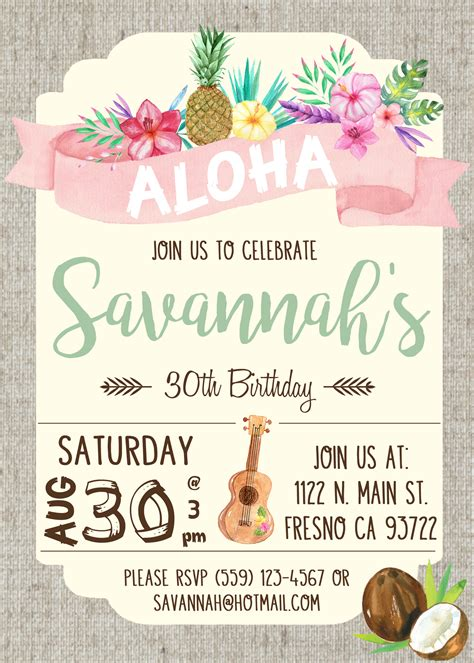hawaiian design invitation hawaiian luau birthday party invitation invite watercolor