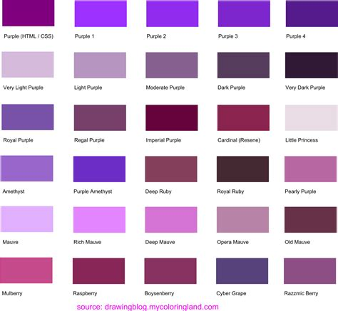 what about color purple hues shades and tints of purple common names their rgb