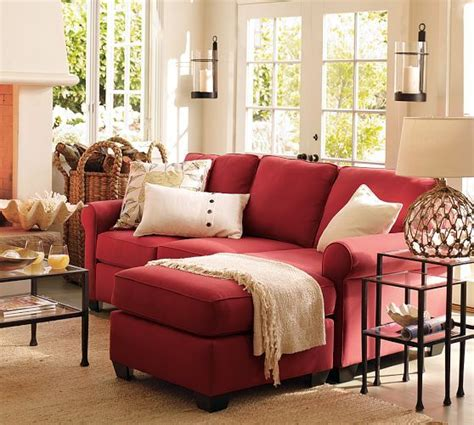 living room with red couch buchanan roll arm upholstered sofa with reversible chaise