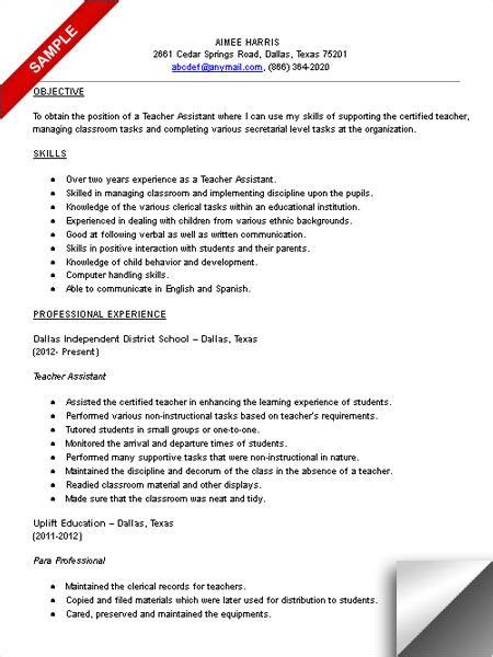 teacher assistant resume sle what a great idea