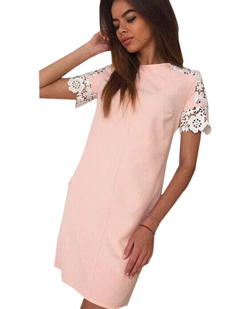 Dress Lyka 01 Pink lace hollow out sleeves pink dress casual mini solid patchwork dresses dress summer