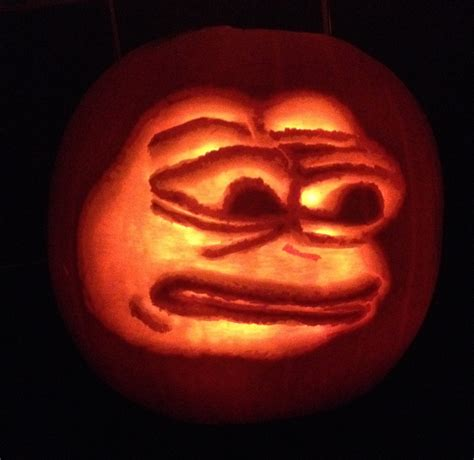 Meme Pumpkin Stencil - the rarest pumpkin yes i carved this pepethefrog