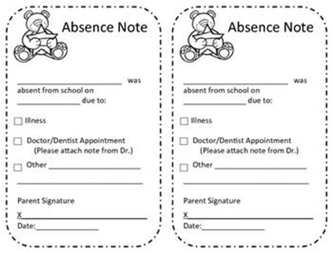 absent notes for school templates absence excuse from school note student note and a student